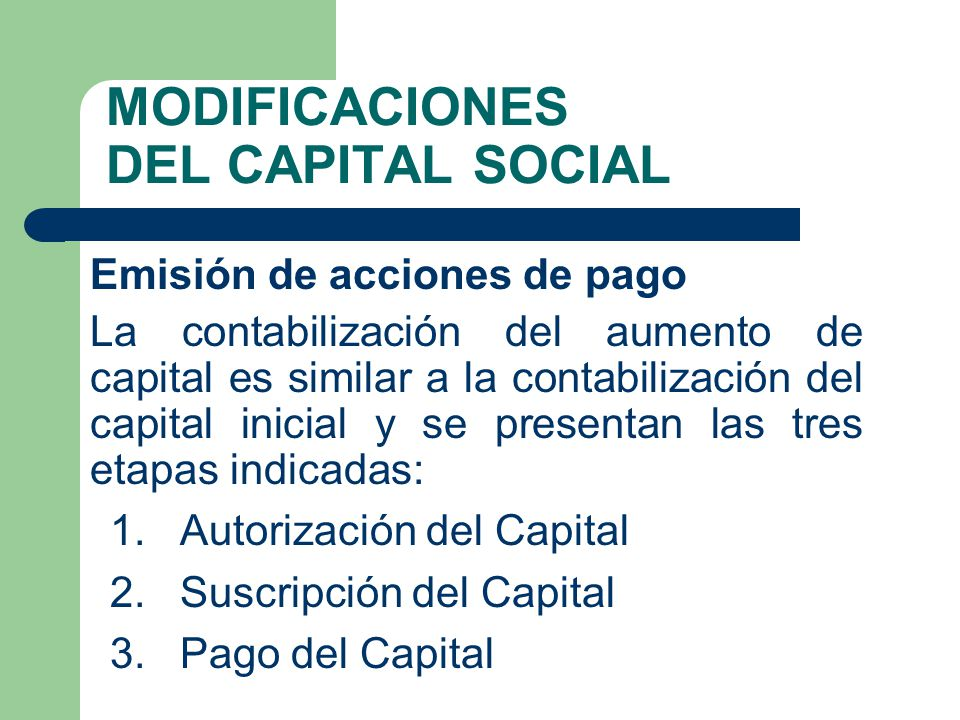 MODIFICACIONES DEL CAPITAL SOCIAL