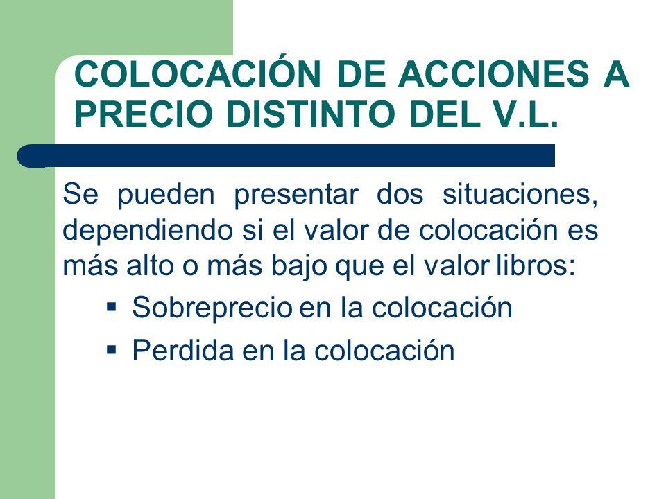 COLOCACIÓN DE ACCIONES A PRECIO DISTINTO DEL V.L.
