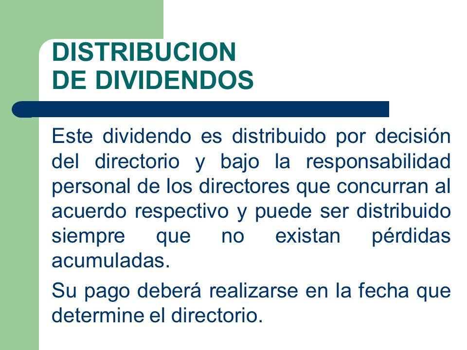 DISTRIBUCION DE DIVIDENDOS