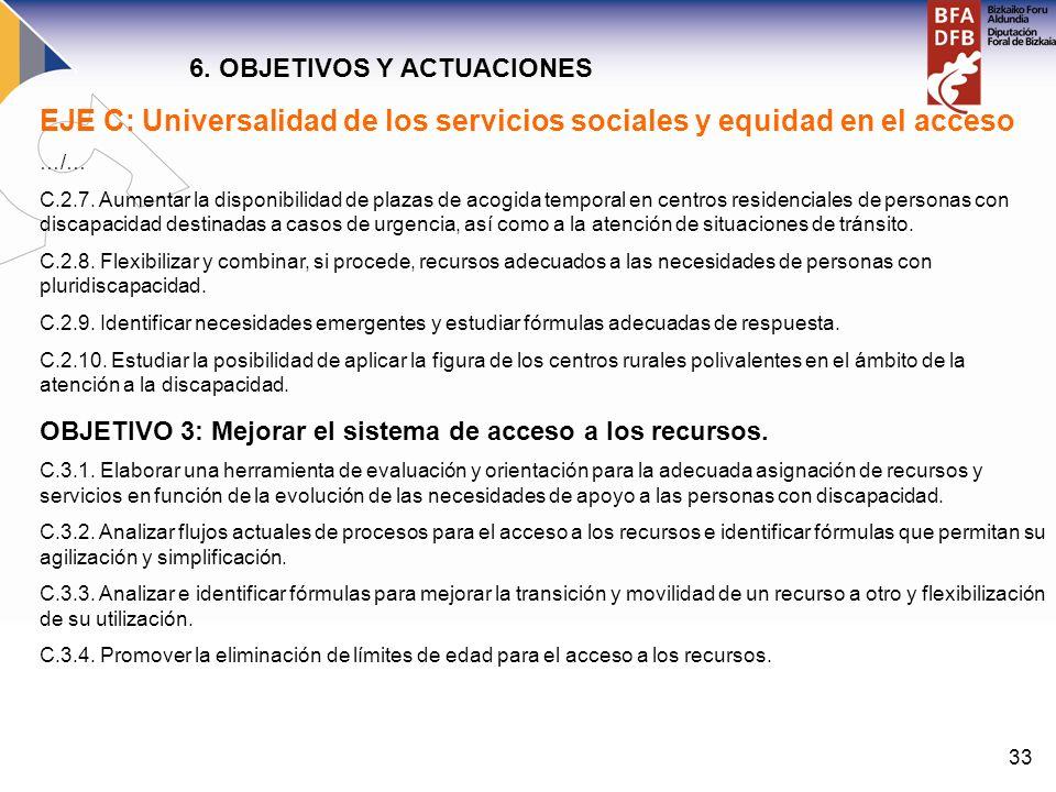 EJE C: Universalidad de los servicios sociales y equidad en el acceso