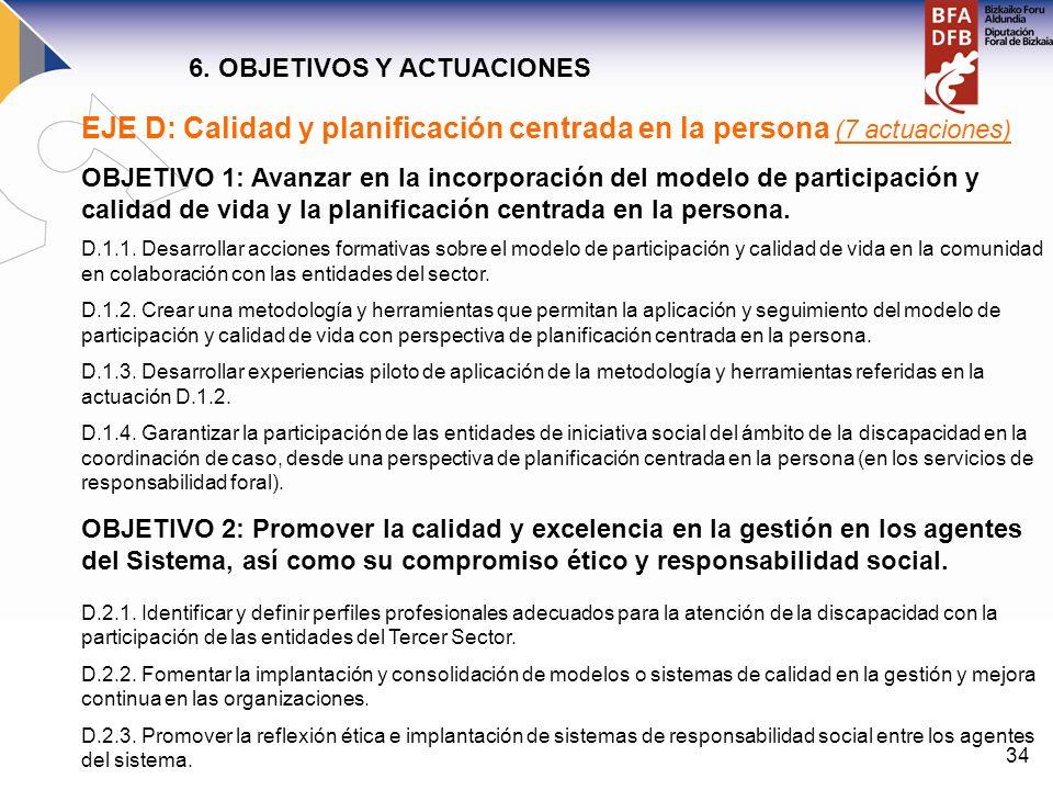 EJE D: Calidad y planificación centrada en la persona (7 actuaciones)