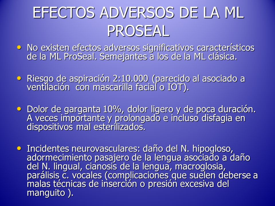 EFECTOS ADVERSOS DE LA ML PROSEAL