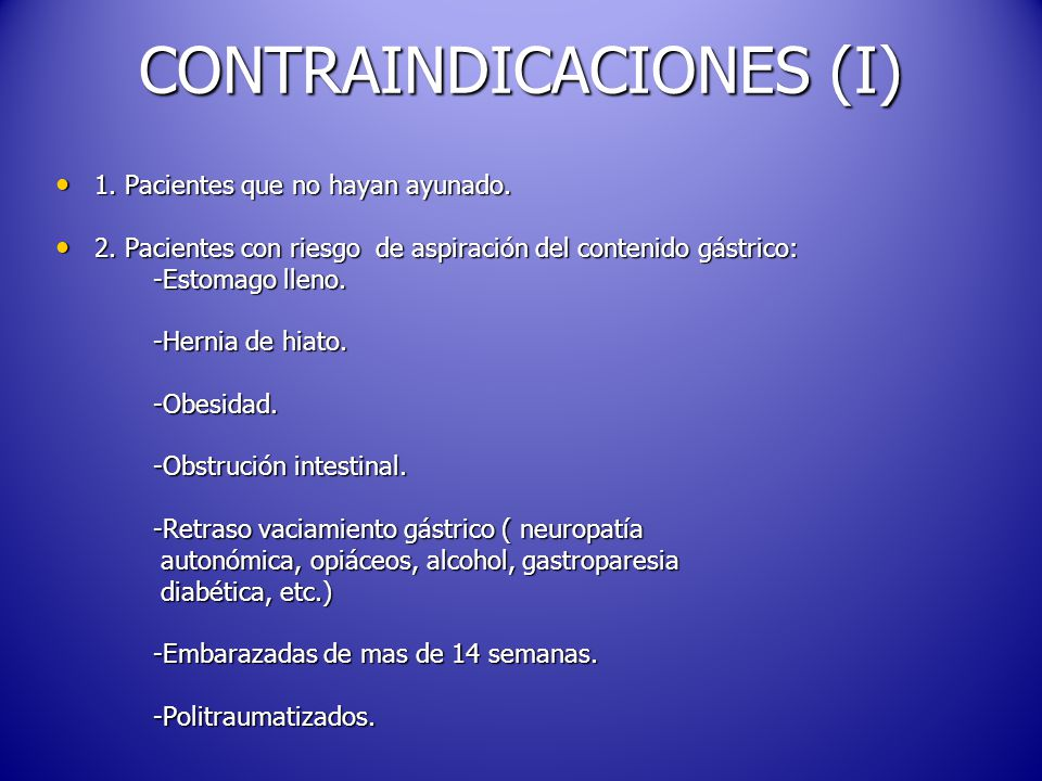 CONTRAINDICACIONES (I)