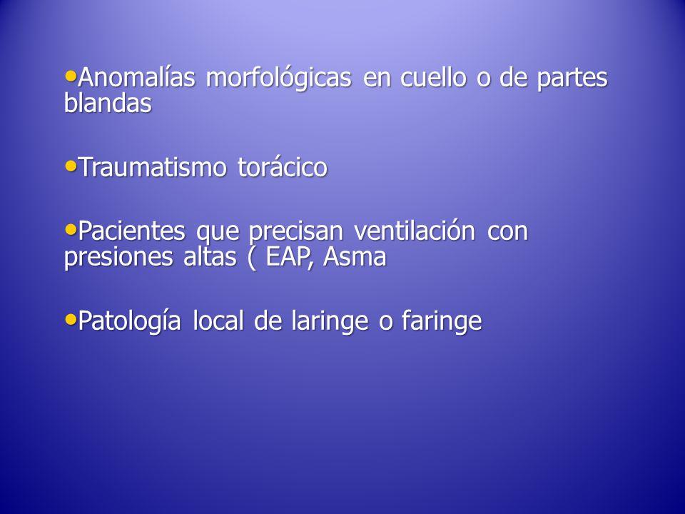 Anomalías morfológicas en cuello o de partes blandas