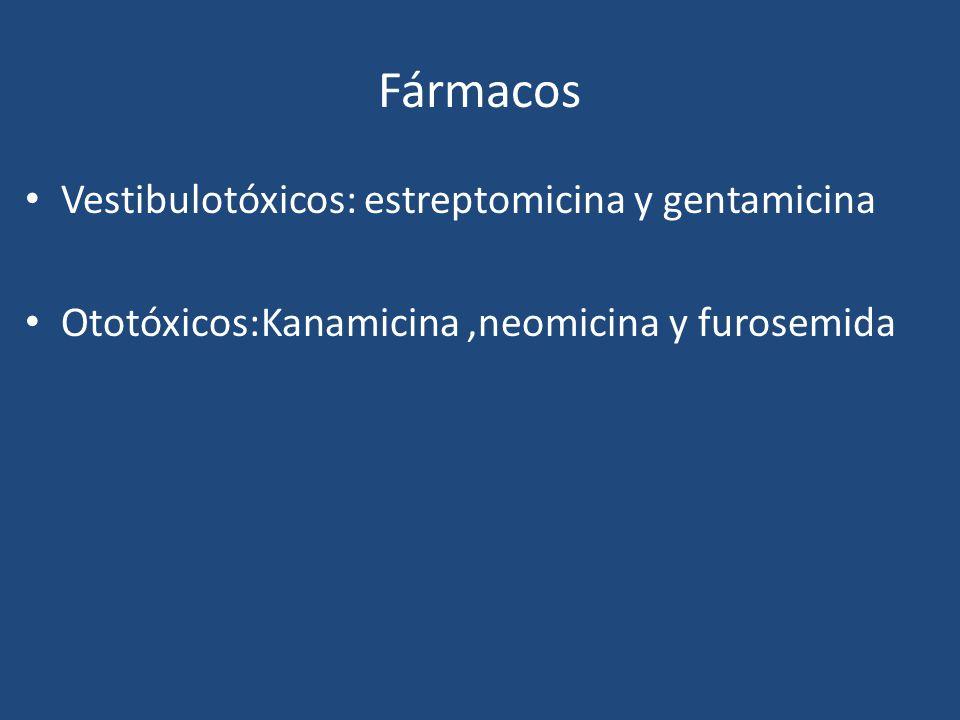 Fármacos Vestibulotóxicos: estreptomicina y gentamicina