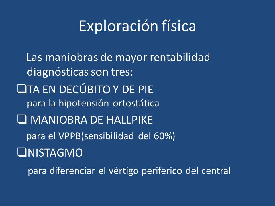 Exploración física Las maniobras de mayor rentabilidad diagnósticas son tres: