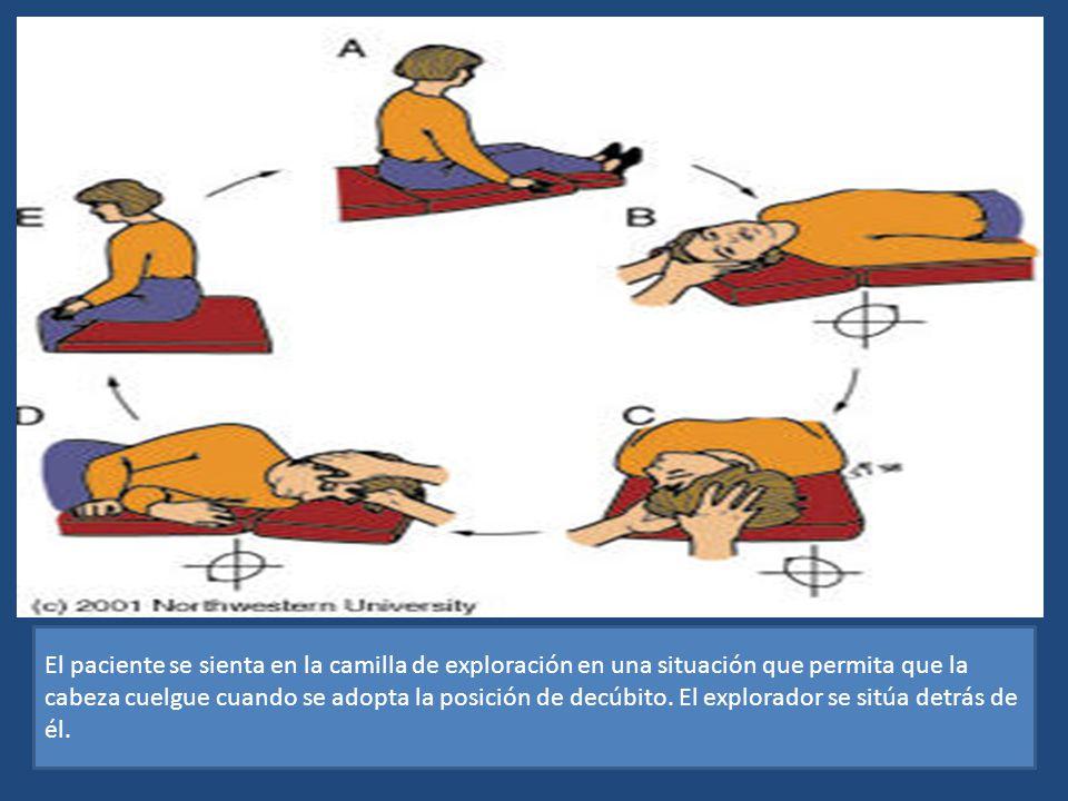 El paciente se sienta en la camilla de exploración en una situación que permita que la cabeza cuelgue cuando se adopta la posición de decúbito.