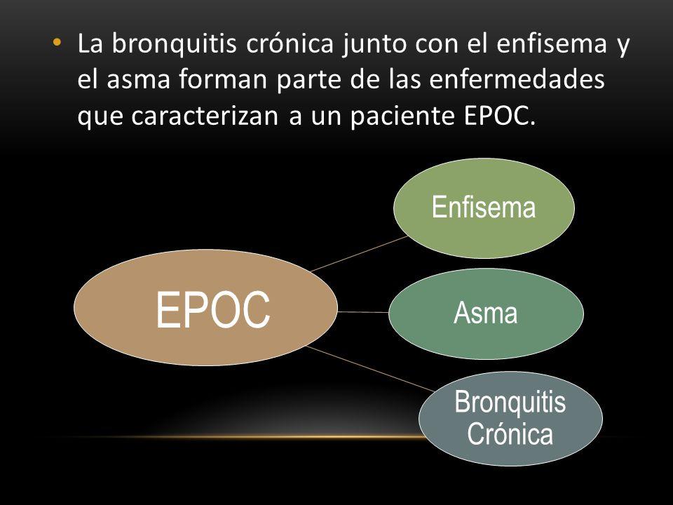 La bronquitis crónica junto con el enfisema y el asma forman parte de las enfermedades que caracterizan a un paciente EPOC.