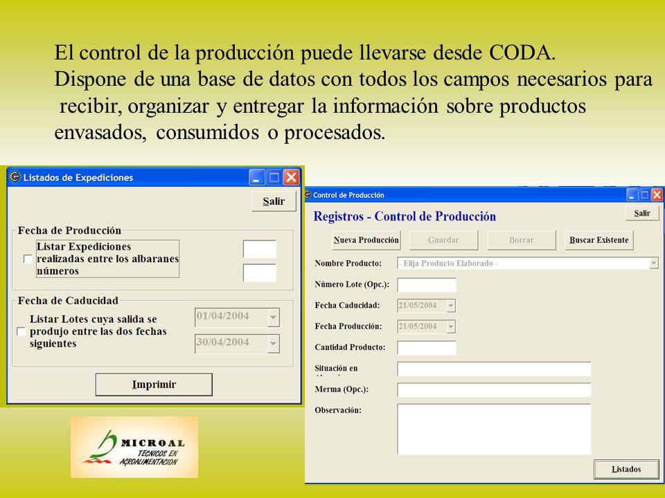 producción El control de la producción puede llevarse desde CODA.