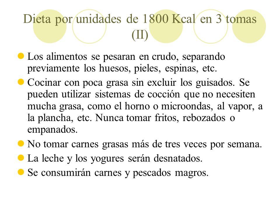 Dieta por unidades de 1800 Kcal en 3 tomas (II)