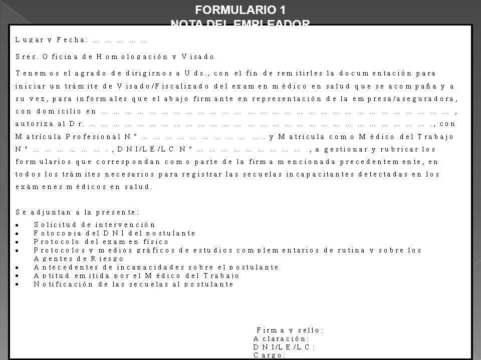 FORMULARIO 1 NOTA DEL EMPLEADOR