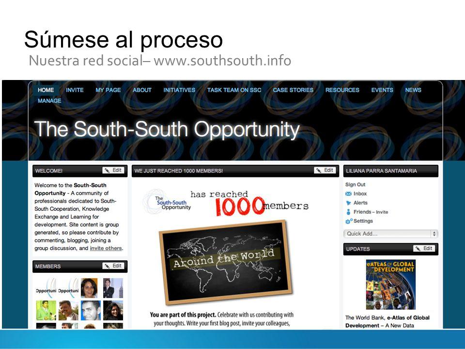 Súmese al proceso Nuestra red social– www.southsouth.info