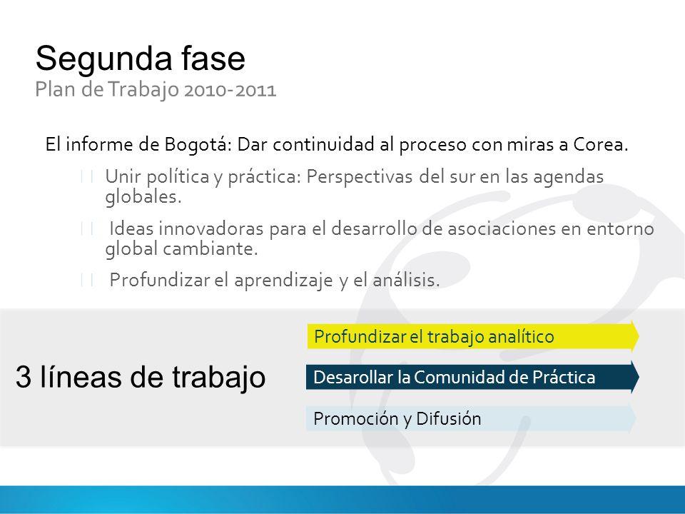 Segunda fase 3 líneas de trabajo Plan de Trabajo 2010-2011