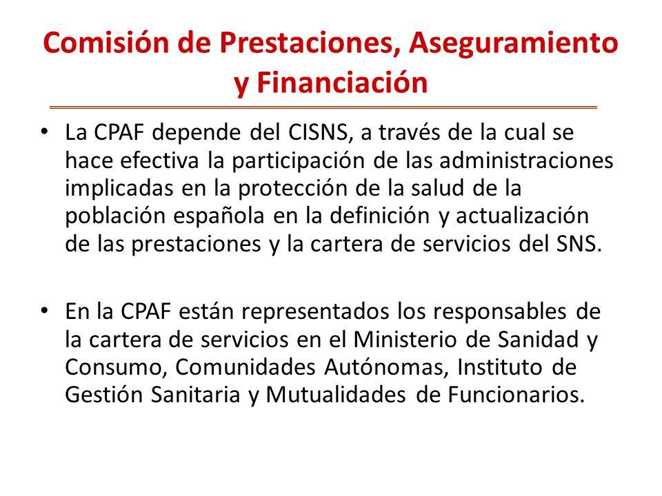 Comisión de Prestaciones, Aseguramiento y Financiación
