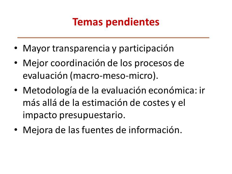 Temas pendientes Mayor transparencia y participación