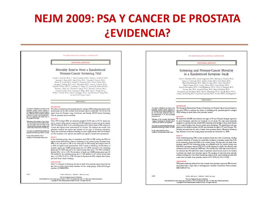 NEJM 2009: PSA Y CANCER DE PROSTATA ¿EVIDENCIA