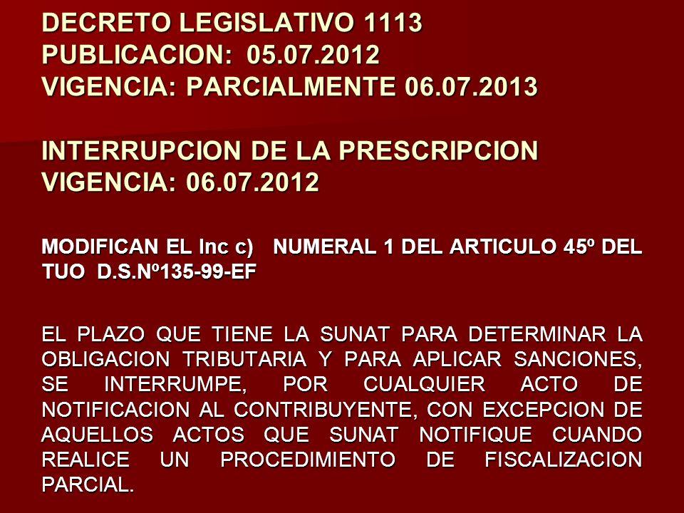 DECRETO LEGISLATIVO 1113 PUBLICACION:. 05. 07