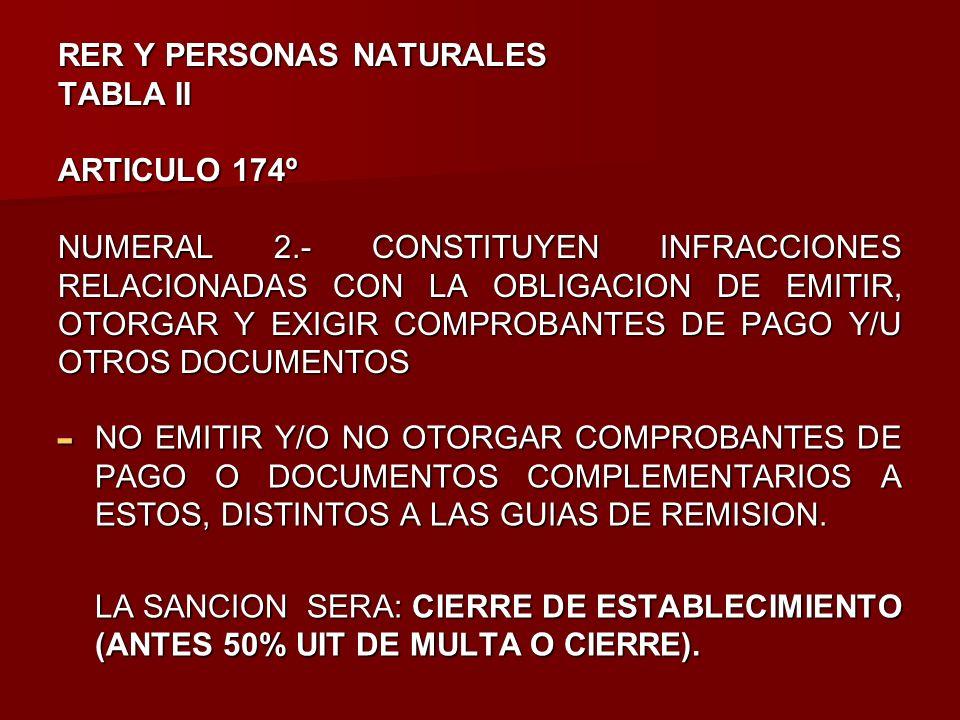 RER Y PERSONAS NATURALES TABLA II ARTICULO 174º NUMERAL 2