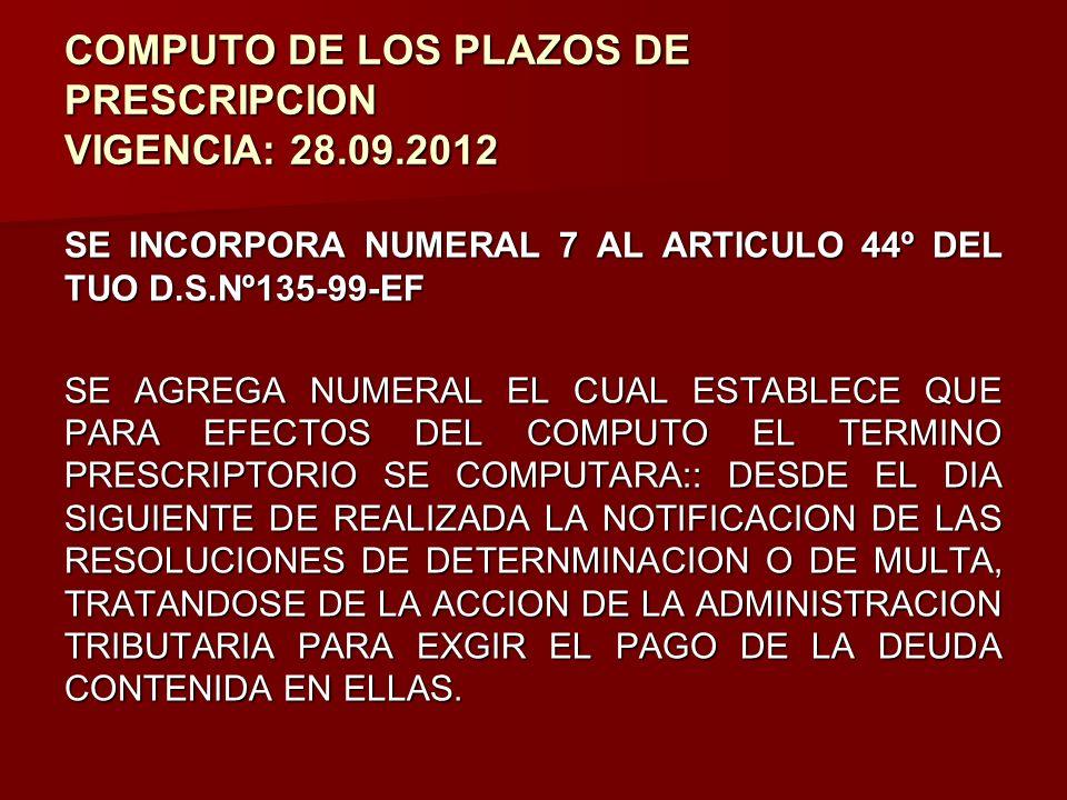 COMPUTO DE LOS PLAZOS DE PRESCRIPCION VIGENCIA: 28.09.2012
