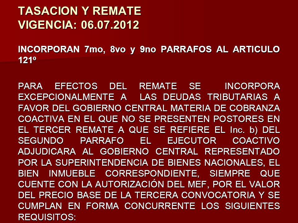 TASACION Y REMATE VIGENCIA: 06.07.2012