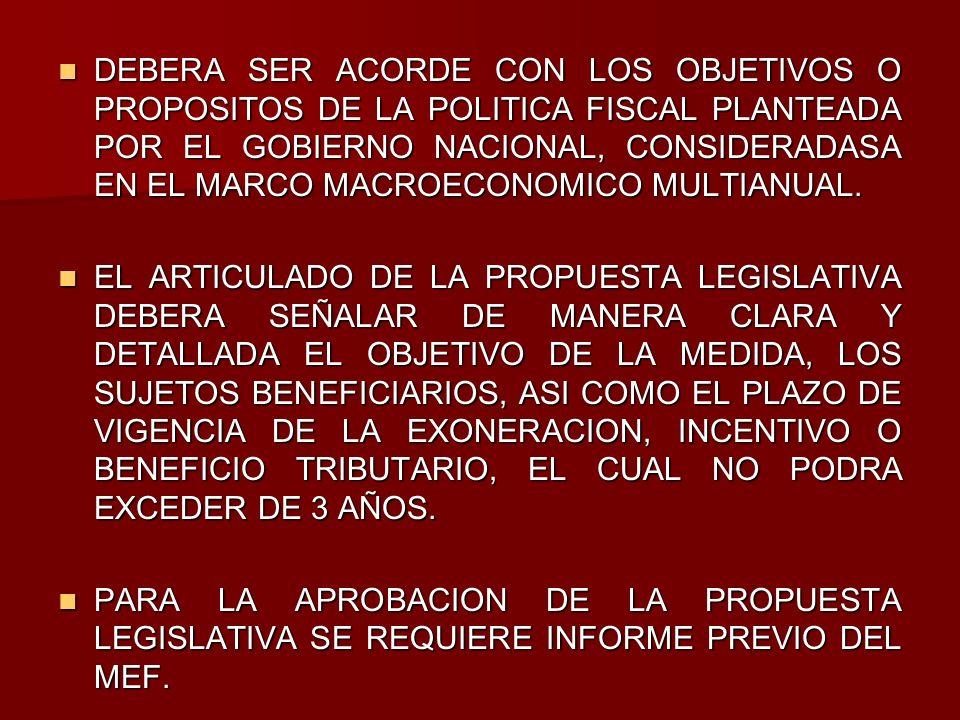 DEBERA SER ACORDE CON LOS OBJETIVOS O PROPOSITOS DE LA POLITICA FISCAL PLANTEADA POR EL GOBIERNO NACIONAL, CONSIDERADASA EN EL MARCO MACROECONOMICO MULTIANUAL.