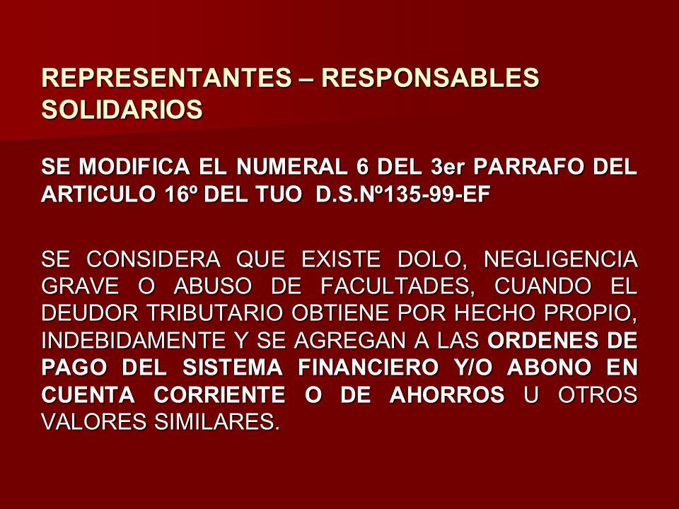 REPRESENTANTES – RESPONSABLES SOLIDARIOS