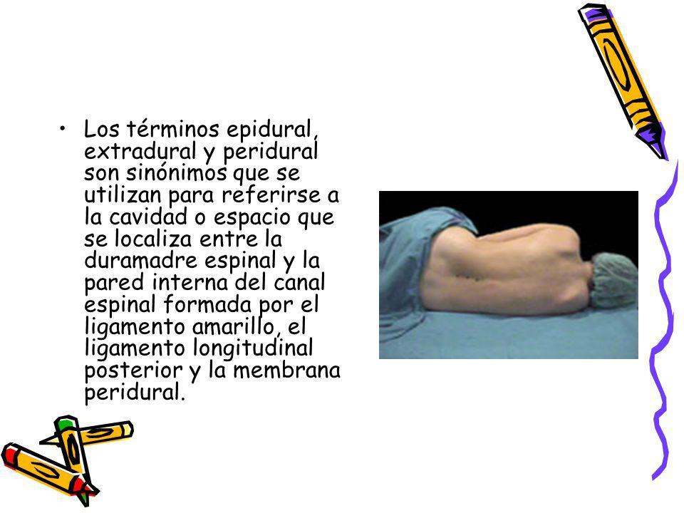 Los términos epidural, extradural y peridural son sinónimos que se utilizan para referirse a la cavidad o espacio que se localiza entre la duramadre espinal y la pared interna del canal espinal formada por el ligamento amarillo, el ligamento longitudinal posterior y la membrana peridural.