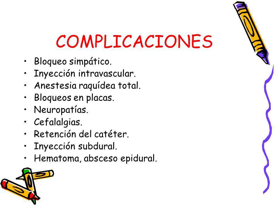 COMPLICACIONES Bloqueo simpático. Inyección intravascular.