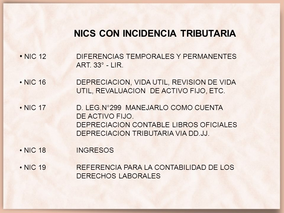 NICS CON INCIDENCIA TRIBUTARIA