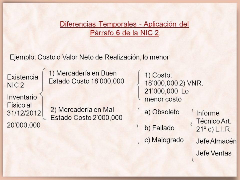 Diferencias Temporales - Aplicación del Párrafo 6 de la NIC 2