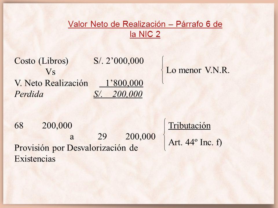 Valor Neto de Realización – Párrafo 6 de la NIC 2