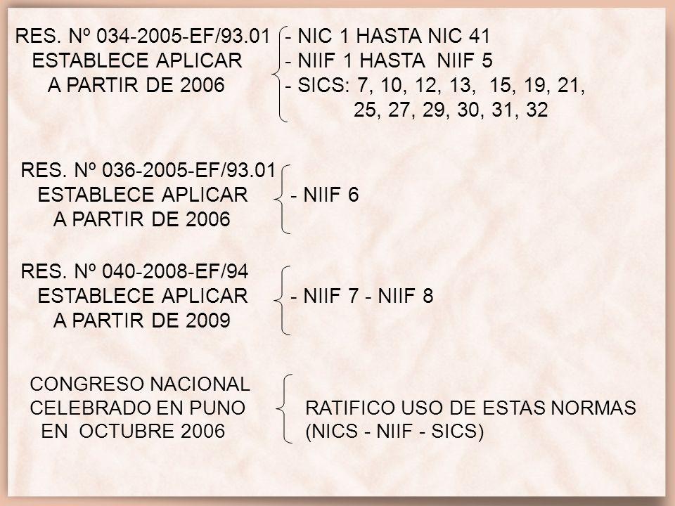 RES. Nº 034-2005-EF/93.01 - NIC 1 HASTA NIC 41