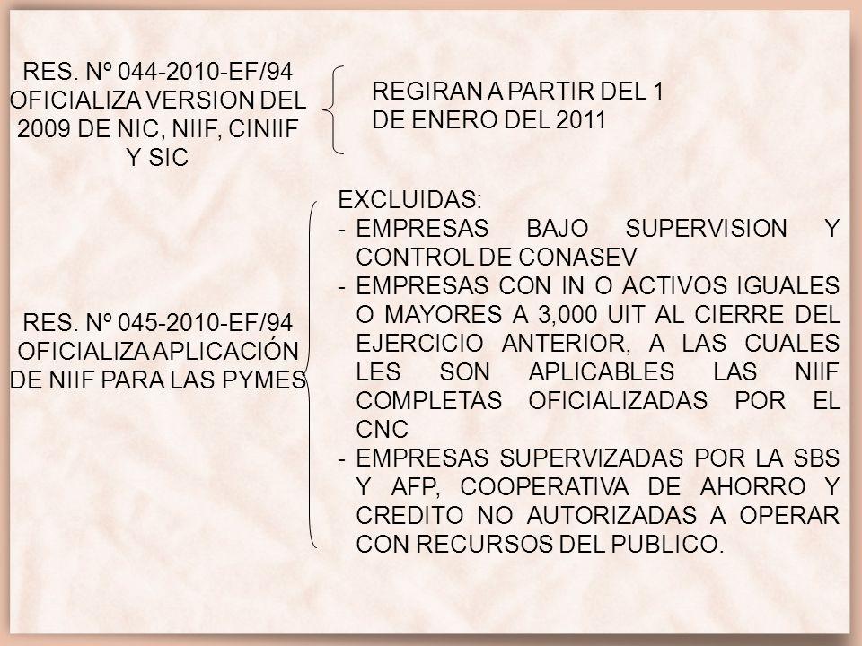 RES. Nº 045-2010-EF/94 OFICIALIZA APLICACIÓN DE NIIF PARA LAS PYMES