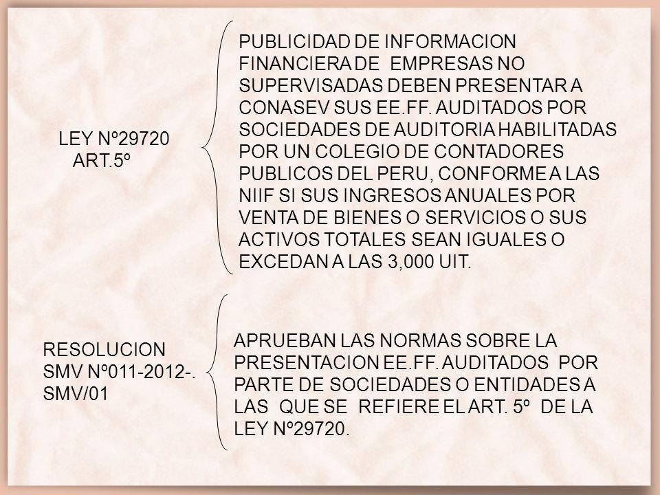 PUBLICIDAD DE INFORMACION FINANCIERA DE EMPRESAS NO SUPERVISADAS DEBEN PRESENTAR A CONASEV SUS EE.FF. AUDITADOS POR SOCIEDADES DE AUDITORIA HABILITADAS POR UN COLEGIO DE CONTADORES PUBLICOS DEL PERU, CONFORME A LAS NIIF SI SUS INGRESOS ANUALES POR VENTA DE BIENES O SERVICIOS O SUS ACTIVOS TOTALES SEAN IGUALES O EXCEDAN A LAS 3,000 UIT.