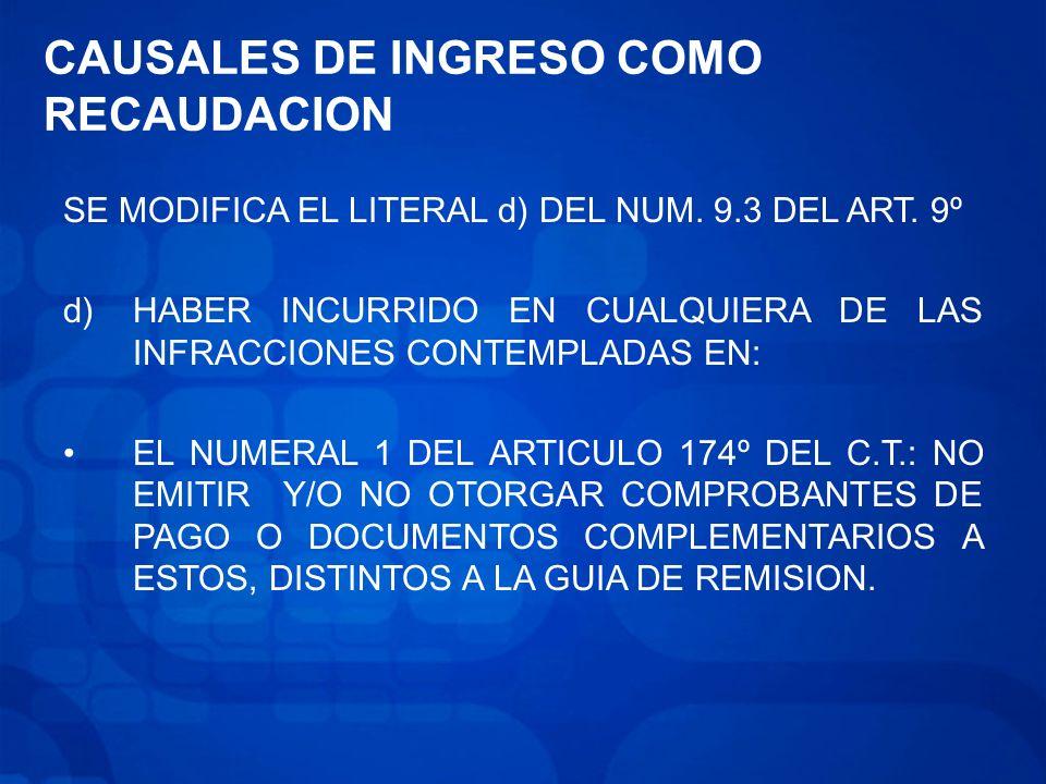 CAUSALES DE INGRESO COMO RECAUDACION
