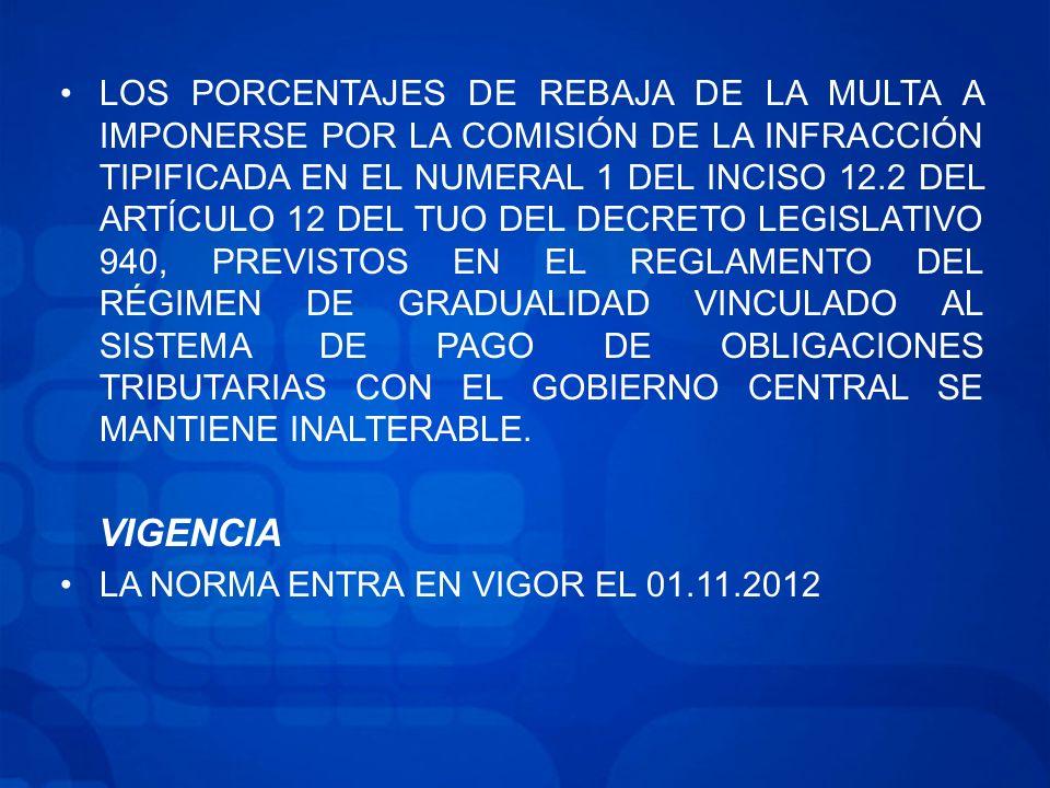 LOS PORCENTAJES DE REBAJA DE LA MULTA A IMPONERSE POR LA COMISIÓN DE LA INFRACCIÓN TIPIFICADA EN EL NUMERAL 1 DEL INCISO 12.2 DEL ARTÍCULO 12 DEL TUO DEL DECRETO LEGISLATIVO 940, PREVISTOS EN EL REGLAMENTO DEL RÉGIMEN DE GRADUALIDAD VINCULADO AL SISTEMA DE PAGO DE OBLIGACIONES TRIBUTARIAS CON EL GOBIERNO CENTRAL SE MANTIENE INALTERABLE.