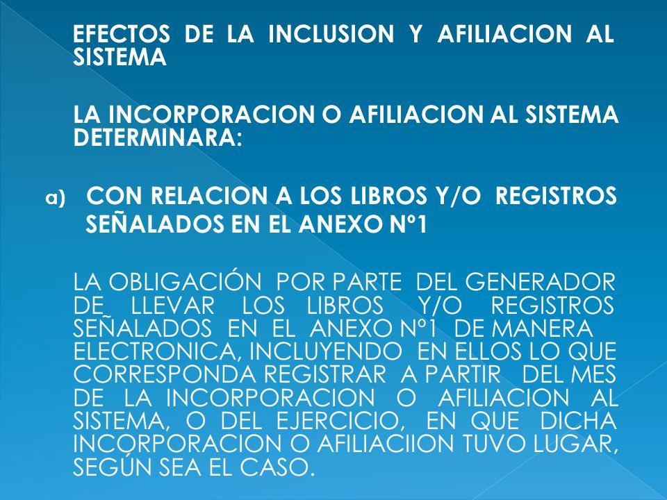 EFECTOS DE LA INCLUSION Y AFILIACION AL SISTEMA