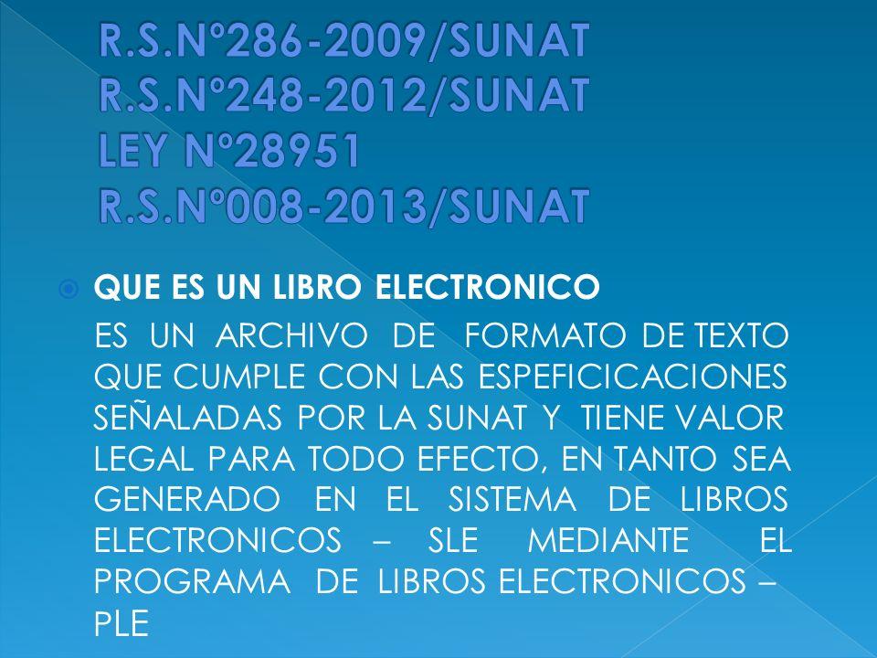 R. S. Nº286-2009/SUNAT R. S. Nº248-2012/SUNAT LEY Nº28951 R. S