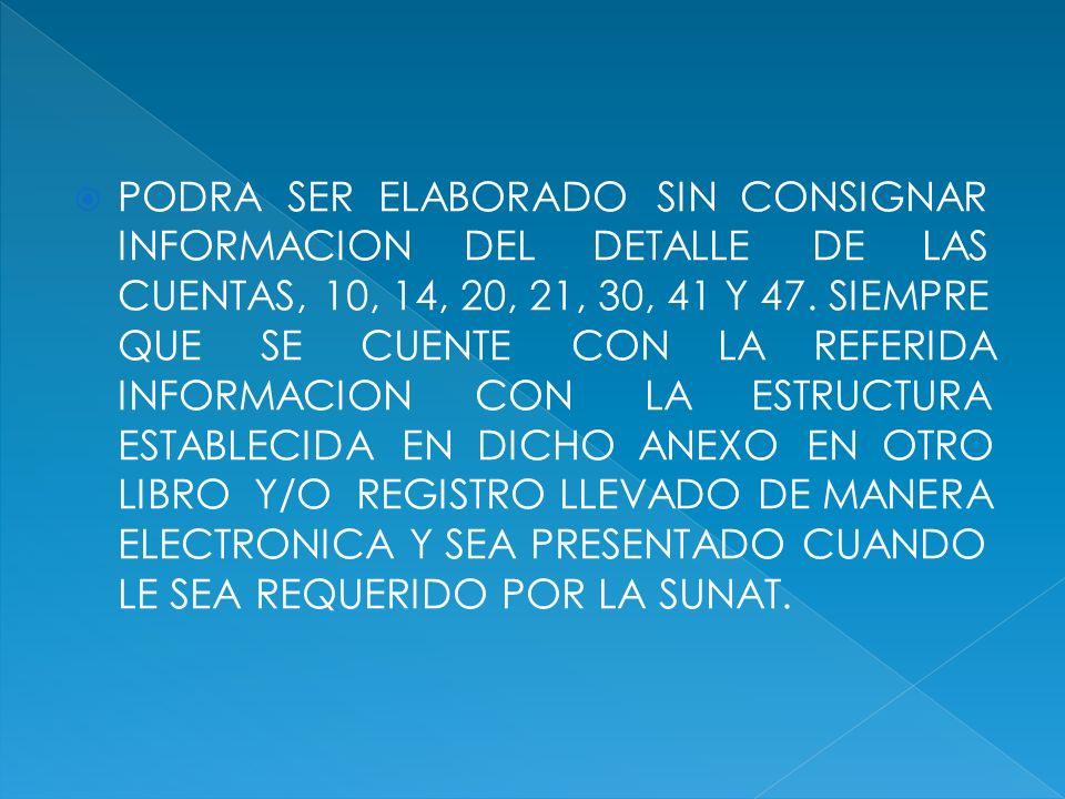 PODRA SER ELABORADO SIN CONSIGNAR INFORMACION DEL DETALLE DE LAS CUENTAS, 10, 14, 20, 21, 30, 41 Y 47.