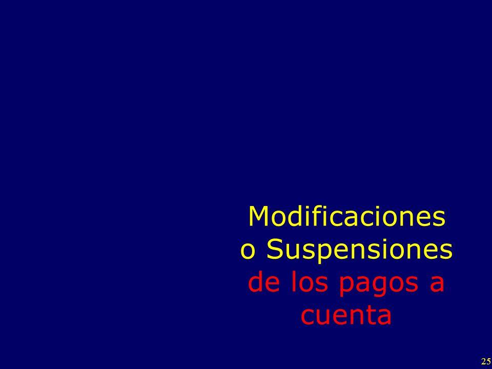 Modificaciones o Suspensiones de los pagos a cuenta