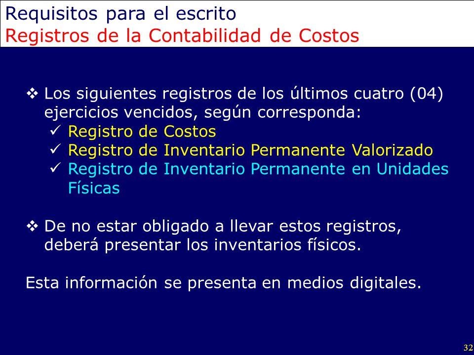 Requisitos para el escrito Registros de la Contabilidad de Costos