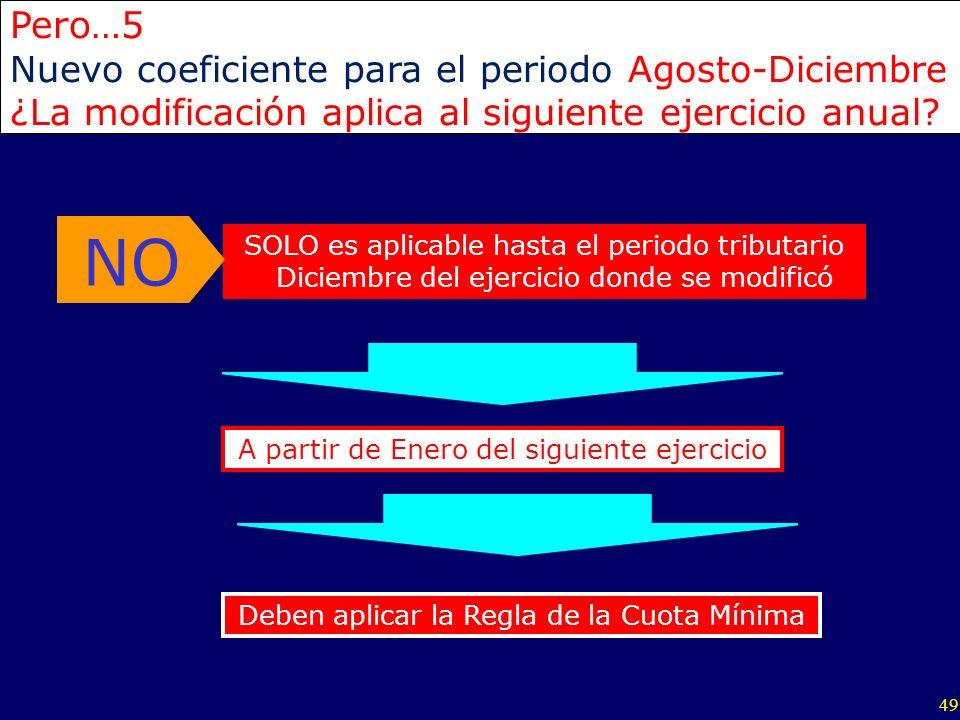 NO Pero…5 Nuevo coeficiente para el periodo Agosto-Diciembre