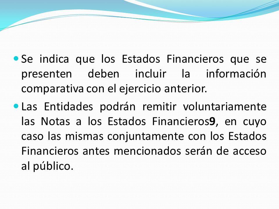 Se indica que los Estados Financieros que se presenten deben incluir la información comparativa con el ejercicio anterior.
