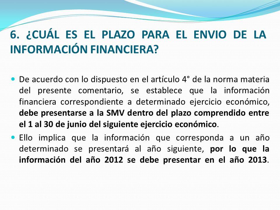 6. ¿CUÁL ES EL PLAZO PARA EL ENVIO DE LA INFORMACIÓN FINANCIERA