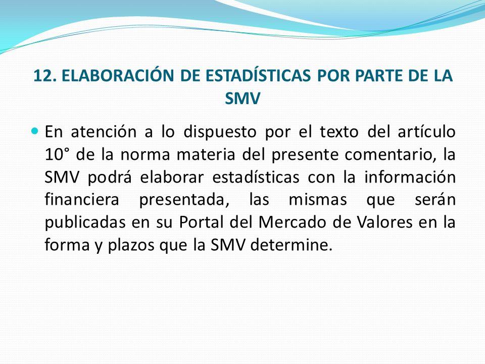 12. ELABORACIÓN DE ESTADÍSTICAS POR PARTE DE LA SMV