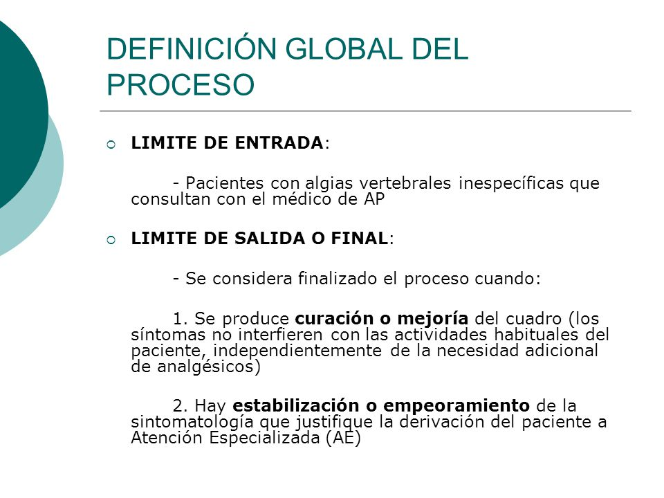 DEFINICIÓN GLOBAL DEL PROCESO