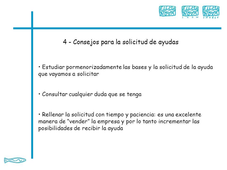 4 - Consejos para la solicitud de ayudas