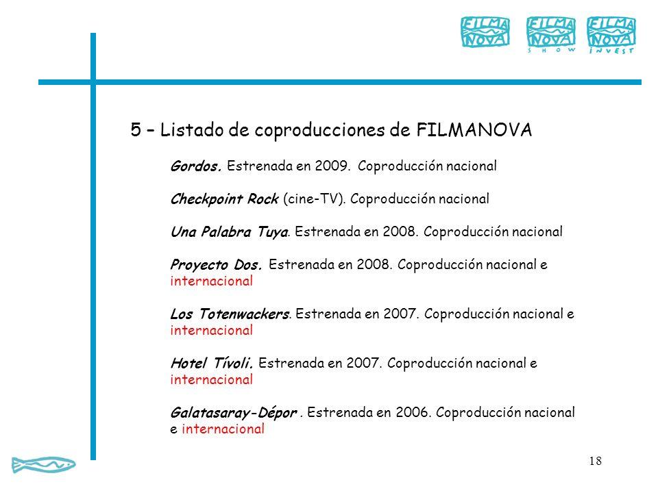 5 – Listado de coproducciones de FILMANOVA