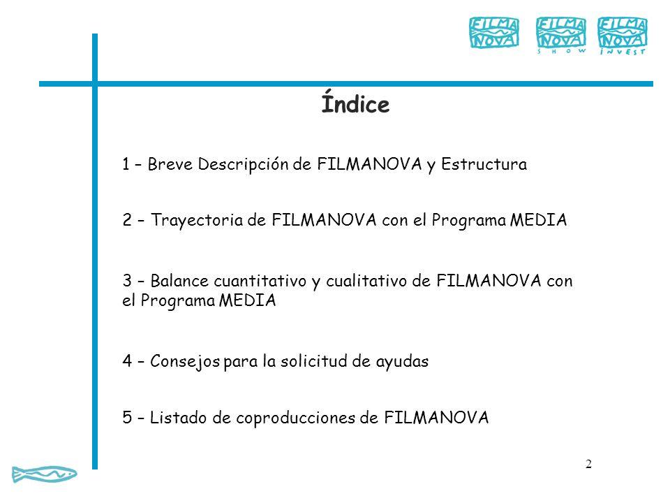 Índice 1 – Breve Descripción de FILMANOVA y Estructura
