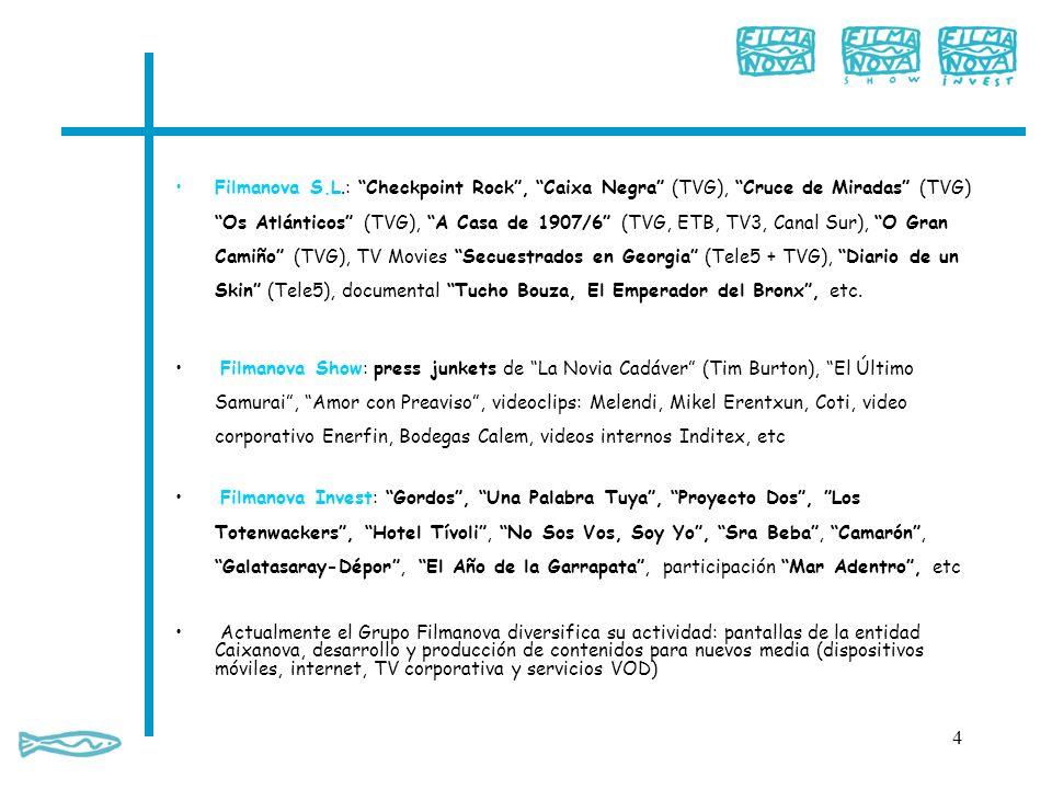 Filmanova S.L.: Checkpoint Rock , Caixa Negra (TVG), Cruce de Miradas (TVG) Os Atlánticos (TVG), A Casa de 1907/6 (TVG, ETB, TV3, Canal Sur), O Gran Camiño (TVG), TV Movies Secuestrados en Georgia (Tele5 + TVG), Diario de un Skin (Tele5), documental Tucho Bouza, El Emperador del Bronx , etc.